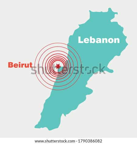 Beirut tragic accident. Beirut blast. Beirut explosion map. Lebanon deadly blast. Lebanon explosion map. Lebanon accident. Beirut accident map vector. Lebanon accident map illustration.
