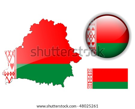 Belarus  flag, map and glossy button, vector illustration set.