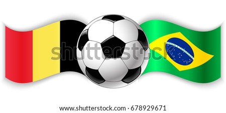 d822f19a9 Belgian and Brazilian wavy flags with football ball. Belgium combined with Brazil  isolated on white