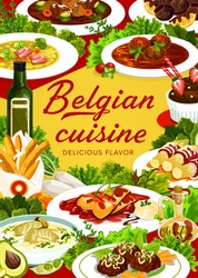 Belgian cuisine food menu meals and dishes, Belgium restaurant dinner and launch, vector. Belgian traditional cuisine menu cover of Flemish carbonade, truffles sweets, Walloon meatballs and watersay