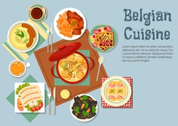 Belgian cuisine with chicken stew, gratin of endives wrapped with ham, mashed potato with sausages, mussels and beef stew with french fries, white pork sausages and waffles topped with fruits