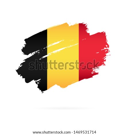 Belgian flag. Vector illustration on a white background. Brush strokes are drawn by hand. Independence Day in Belgium. Foto stock ©