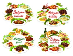 Belgian food cuisine, menu dishes and Belgium meals vector restaurant lunch and dinner. Belgian traditional food menu liver medallions, chicken with cherry and truffles, European world cuisines