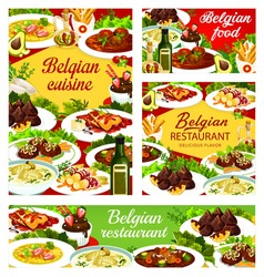 Belgian food cuisine, menu dishes and meals of Belgium vector restaurant dinner and lunch. Belgian traditional cuisine food menu with gourmet meat, salads soups and national pastry sweets