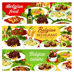 Belgian food cuisine menu dishes, Belgium restaurant banners, vector traditional meals. Belgian national cuisine food chicken with cherry, coffee parfait and truffles, fries and liver meat medallions