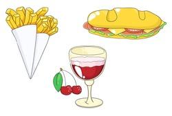 Belgian food: french fries, sandwich, cherry beer (kriek). Vector illustration.
