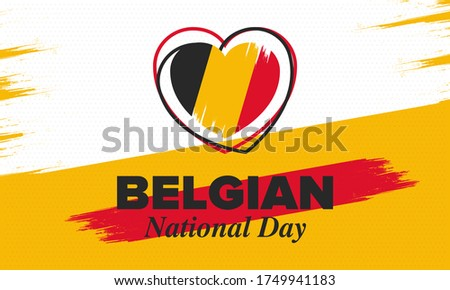Belgian National Day. Belgium Independence day. Annual holiday in Belgium, celebrated in Jule 21. Patriotic design. Poster, greeting card, banner and background. Vector illustration Photo stock ©