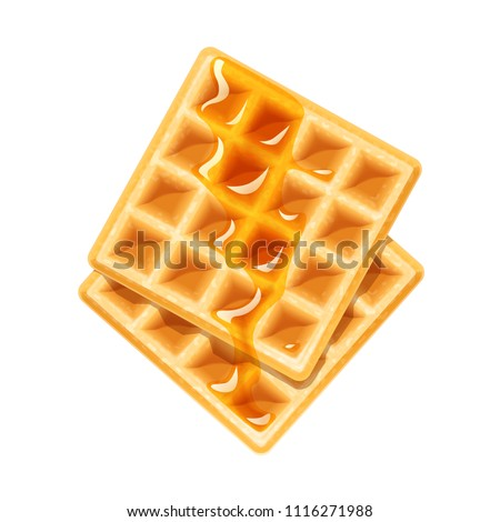 Belgian Waffle with honey. Dessert sweetness. Lunch cooking. Isolated white background. EPS10 vector illustration. Stock fotó ©