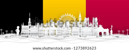 Belgium flag and famous landmarks in paper cut style vector illustration.