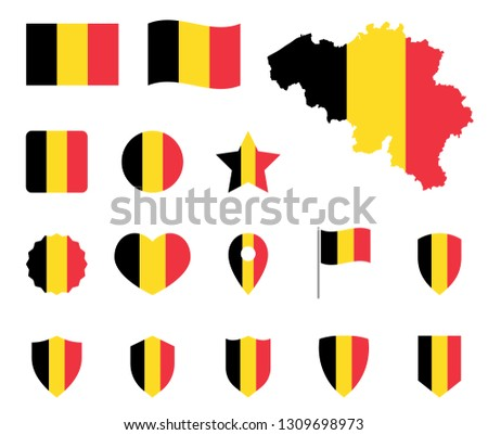 Belgium flag icons set, belgian flag symbol Photo stock ©