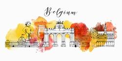 Belgium. Hand drawn vector background