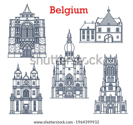 Belgium landmarks, cathedrals in Tongeren, Dinant and Diest city architecture. Belgium travel landmarks, Saint-Hubert church, Basilica of Our Lady, Collegiate Church and Herkenrode Abbey Photo stock ©