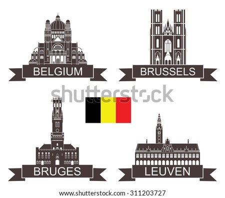Belgium logo. Isolated Belgium buildings on white background