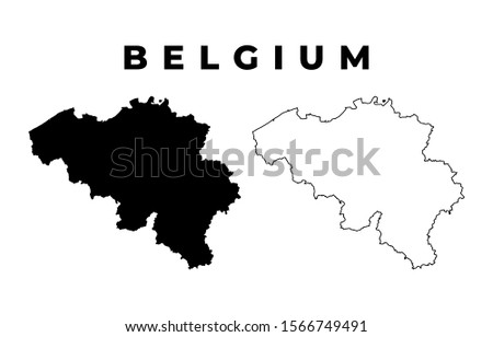 Belgium Map - Blank Map of Belgium Black Silhouette and Outline Isolated on White Background Сток-фото ©