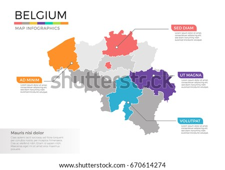 belgium map infographic vector template with regions and pointer marks