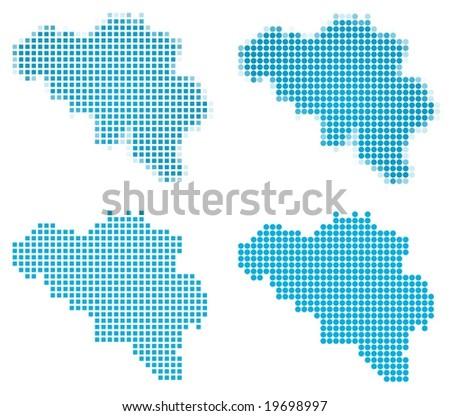Belgium map mosaic set. Isolated on white background.
