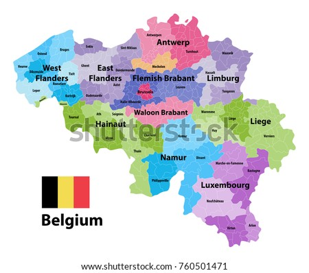 belgium map showing the provinces and administrative subdivisions municipalities colored by arrondissements