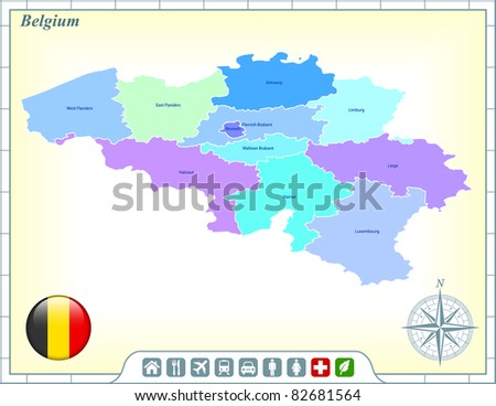 Belgium Map with Flag Buttons and Assistance & Activates Icons Original Illustration