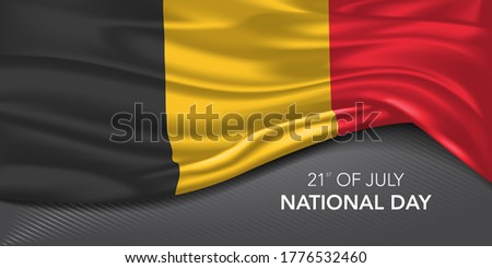 Belgium national day greeting card, banner with template text vector illustration. Belgian memorial holiday 21st of July design element with tricolor Photo stock ©