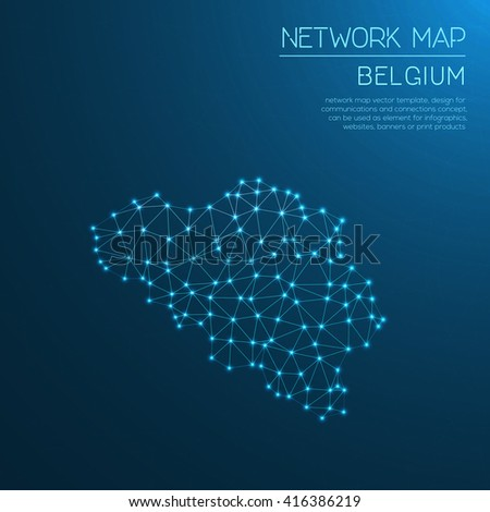 belgium network map abstract