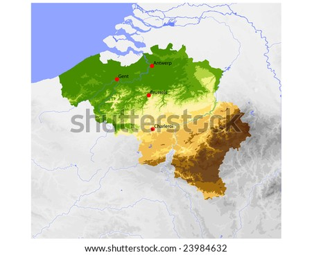 Belgium. Physical vector map, colored according to elevation, with rivers and selected cities. Surrounding territory greyed out. 27 named layers, fully editable. Data source: NASA