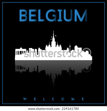 belgium  skyline silhouette