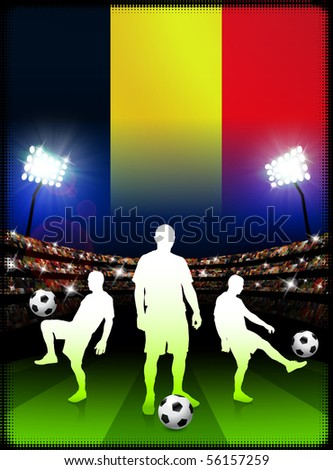 Belgium Soccer Player with Flag on Stadium Background Original Illustration