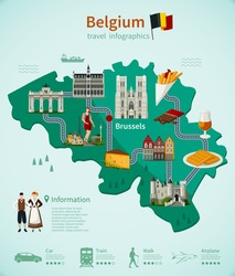 Belgium travel infographics with national map architecture and cuisine roads and rating of using transport vector illustration