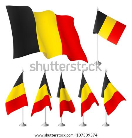 belgium vector flags a set of