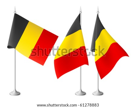 Belgium vector flags with a metal stand