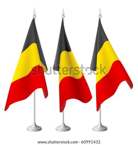 Belgium vector flags with metal stand