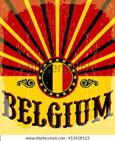 belgium vintage old poster with