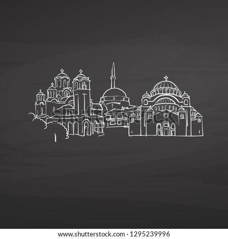 Belgrade Serbia signs on blackboard. Digital chalk drawn vector sketch on blackboard. European capitals destinations.