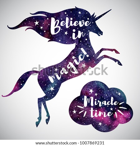 Believe in magic fantasy Illustration. Watercolor unicorn silhouette, cloud and inspiration, encourage, motivation quotes. Miracle time lettering. Watercolour night sky, stars. Template for cards.