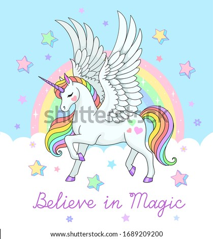 Believe in magic lettering. Beaututiful pegasus with rainbow and stars. Vector fantasy illustration