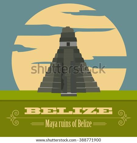 belize landmarks retro styled
