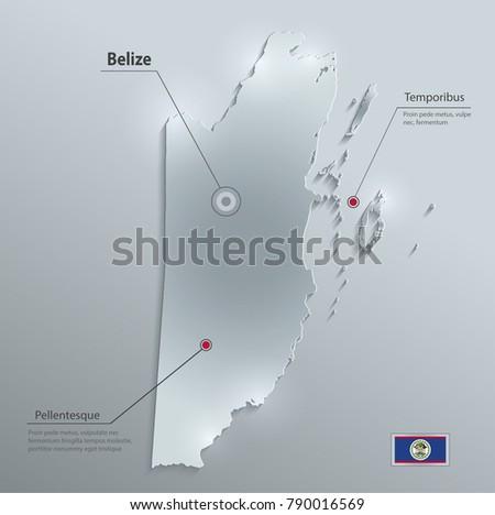 belize map flag glass card