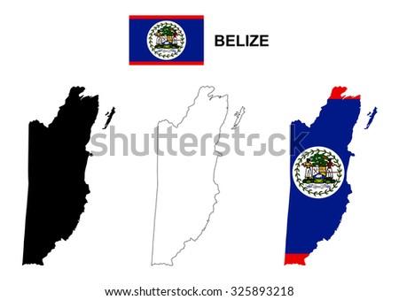 belize map vector  belize flag