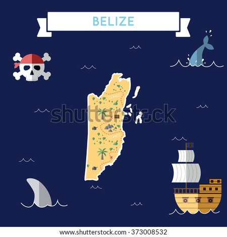 belize treasure map in flat