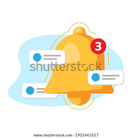 bell and bubble notification, enable push notifications concept illustration flat design vector eps10. simple and modern style graphic element for landing page, empty state ui, infographic, etc Stock foto ©
