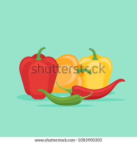 Bell and chilli coloured peppers isolated on green background. Flat style vector illustration.