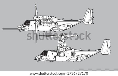 Bell Boeing V-22 Osprey. Vector drawing of VSTOL military transport aircraft. Side view. Image for illustration and infographics.
