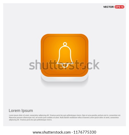 Bell Icon Orange Abstract Web Button - Free vector icon