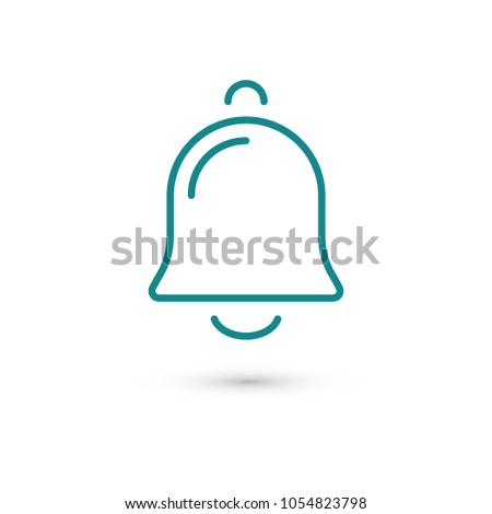 Bell icon vector illustration. Linear symbol with thin outline. The thickness is edited. Minimalist style.