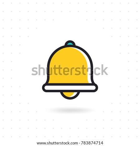 Bell icon vector. Notification bell outline flat icon for apps and websites. Colored flat line vector illustration