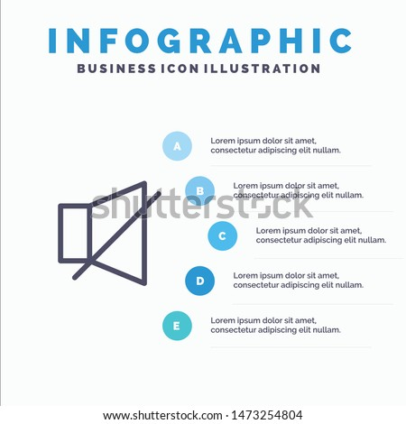 Bell, Off, Silent, Twitter Line icon with 5 steps presentation infographics Background