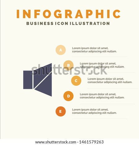 Bell, Off, Silent, Twitter Solid Icon Infographics 5 Steps Presentation Background. Vector Icon Template background