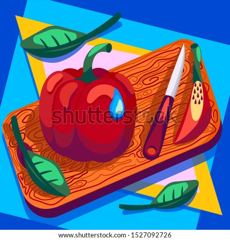 Bell pepper on the board, on the kitchen table. Around the leaves. Each object on a peeling layer. All objects can be animated or used as a picture.