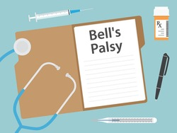 Bell's palsy written in patient card, medical concept- vector illustration