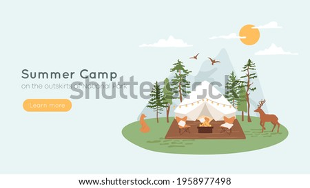 Bell tent with terrace, fire pit and lounge chairs. Concept of summer camp, glamping in forest. Mountains on background, wild animals fox and deer walking in parkland. Vacation, recreation banner. Stock photo ©